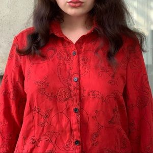 Sag Harbor Red Flower Embroidered Button Up